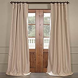 Half Price Drapes PTCH-BO130907-96 Blackout Faux Silk Taffeta Curtain, Antique Beige