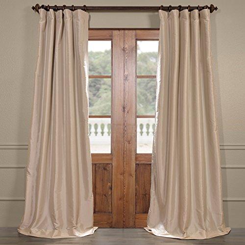- Half Price Drapes PTCH-BO130907-108 Blackout Faux Silk Taffeta Curtain, Antique Beige