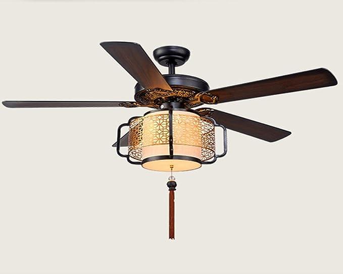 Nuevo estilo chino retro LED lámpara ventilador, ventilador de techo, salón restaurante, hotel luz Ventilador de techo: Amazon.es: Iluminación