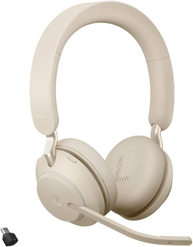 Jabra Evolve2 65 Wireless Pc Headset Noise Cancelling Microsoft Teams Zertifizierte Stereo Kopfhörer Mit Langer Akkulaufzeit Usb C Bluetooth Adapter Beige Elektronik