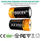 CR123A Lithium Batteries, DULEX CR123A Rechargeable Batteries, 4-Pack 700mAH 3.7V ICR17335 Battery and Charger for Arlo VMC3030 VMK3200 VMS3130/3230C/3430/3530 Security Cameras, Alarm System