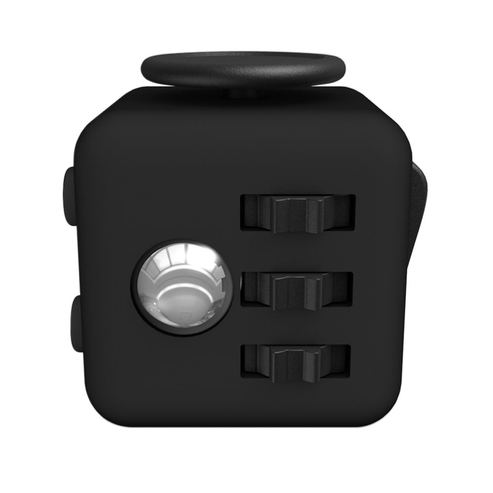 Lodabodkin Fidget Cube Relieves Stress and Anxiety for Children and Adults, Anxiety Attention Toy (Black-black)
