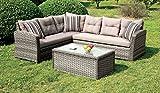 Furniture of America Melia Patio Sectional Set, Tan