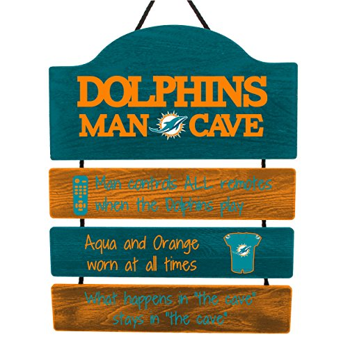 - FOCO NFL Miami Dolphins Team Logo Mancave Man Cave Hanging Wall Sign, Team Color, One Size