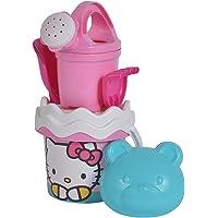 Simba 109284473 Hello Kitty Emmerset, 6 delen, emmer, zeef, zandvorm, schep, hark, gieter, hoogte 11 cm, diameter 14 cm
