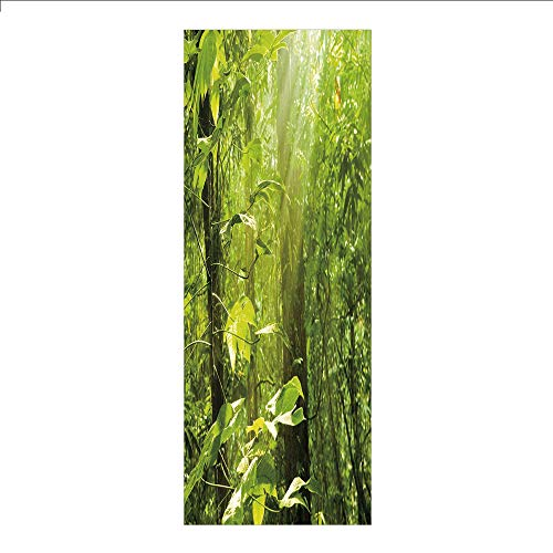3D Decorative Film Privacy Window Film No Glue,Nature,Forest with Sunray Foliage Leaf Branches Woodland Eco Jungle Misty Picture,Lime Green Brown,for Home&Office