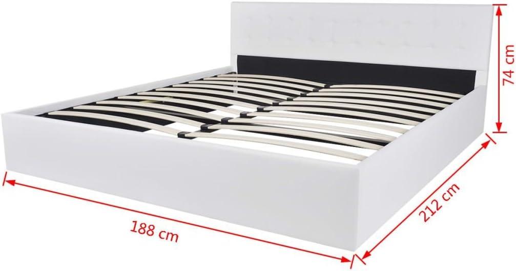 XuzhEU Structure de lit LED 180/x 200/cm en Cuir Artificiel Noir