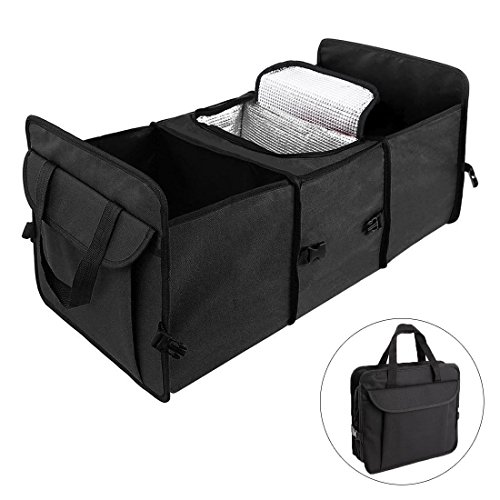 Car Trunk Organizer DINKANUR Oxford Cloth Trunk Cooler Storage Bag, Expandable side pockets, Foldable Perfect for Your Car, SUV, Truck ,RV ,Minivan (1PCS) (black) (Cooler Side Oil Right)