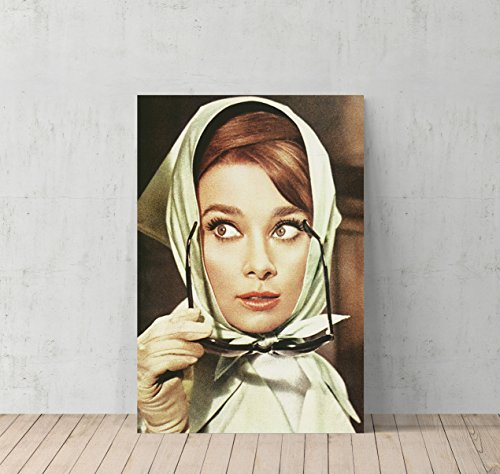 Audrey Hepburn Scarf and Sunglasses Canvas Print Decorative Art Modern Wall Décor Artwork- %100 Handmade in the USA - - Marilyn Collection Sunglasses Monroe