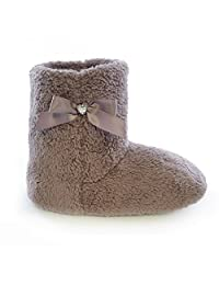 Womens/Ladies Coral Fleece Slipper Boots With Jewel And Ribbon Detail