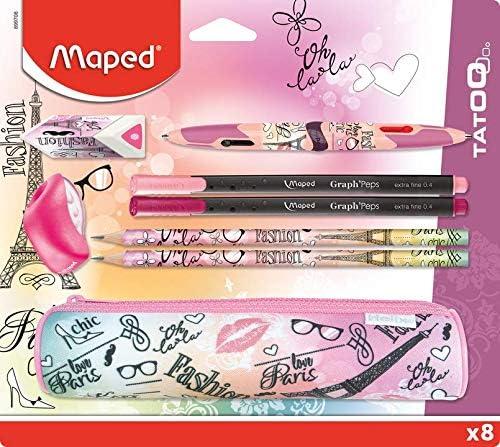 Maped - Kit de accesorios escolares (8 piezas), 1 estuche redondo, 2 lápices de papel, 1 goma, 1 sacapuntas, 1 bolígrafo Twin Tip de 4 colores, 2 bolígrafos finos, diseño de París Fashion: Amazon.es: Oficina y papelería