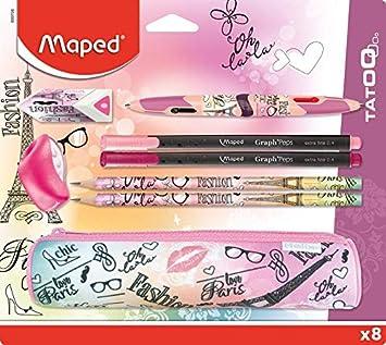 Maped - Kit de accesorios escolares (8 piezas), 1 estuche redondo, 2 lápices de papel, 1 goma, 1 sacapuntas, 1 bolígrafo Twin Tip de 4 colores, 2 bolígrafos finos, diseño de París Fashion