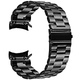 "V-Moro for Gear S3 Classic/Frontier Watch Band, 22mm Solid Metal Stainless Steel Replacement Business Bracelet Wristband Strap for Samsung Gear S3 Sports Smartwatch 5.7""-7.48""(Metal Black+Clips)"