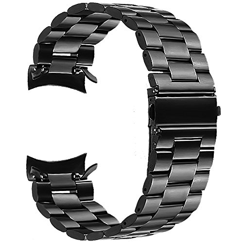 """Business Band - V-Moro for Gear S3 Classic/Frontier Watch Band, 22mm Solid Metal Stainless Steel Replacement Business Bracelet Wristband Strap for Samsung Gear S3 Sports Smartwatch 5.7""""-7.48""""(Metal Black+Clips)"""