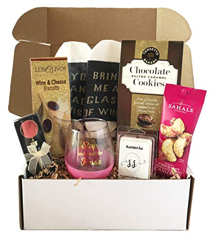 (Wine Basket Wine Gift - Wine Gift Baskets For Wine Lovers - Includes Wine Glass, Stopper, Wine Socks, Crackers + More - Perfect For Birthday, Mothers Day, Women Sets (Wine Box - Rose))