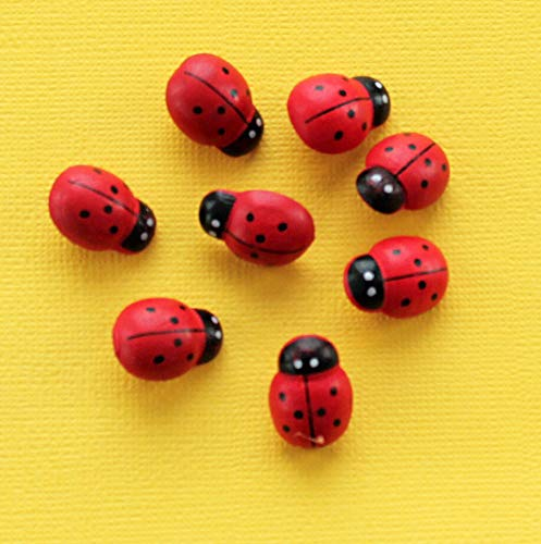- 10 Ladybug Buttons Wooden Shank Buttons for Sewing and Crafting Jewelry Making Supply Pendant Bracelet DIY Crafting by Wholesale Charms