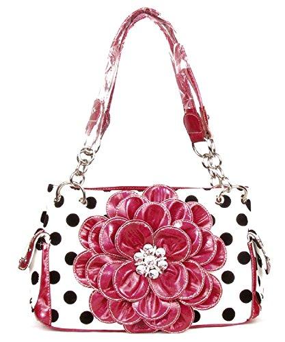 DH Polka Dot Bling Rhinestone Flower Western Purse Shoulder Bag Jp Black White (Pink) ()
