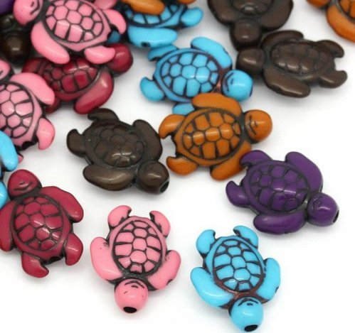 100 Pc Turtle Charm Spacer Beads, Acrylic Mixed Color, 18x15mm (~3/4) with 1.8mm Hole - Cute Bead