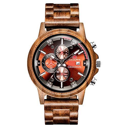 Men's Wooden Watch Personalized Quartz Simulation Sports Date Business Casual Watch Send dad Boyfriend Son The Best Gift (Walnut)