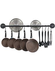 Oropy 39 inch Hanging Pot Bar Rack Wall Mounted Lid Holder Detachable Rail Kitchen Utensils Hanger with 14 S Hooks Black