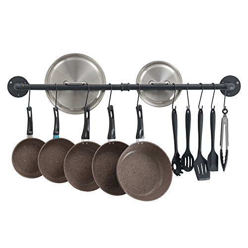 Oropy 39 inch Hanging Pot Bar Rack Wall Mounted Lid Holder Detachable Rail Kitchen Utensils Hanger with 14 S Hooks Black