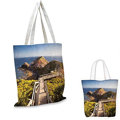 London canvas shoulder bag Cape Schanck Boardwalk Runs Towards the Sea Rock Formation Victora Australia canvas lunch bag Tan Green Blue. 15