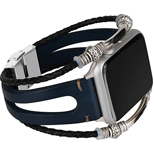 somoder Apple Watch Band 38mm, Handmade Vintage Fashion Alloy Leather Bracelet Apple Watch Series 3 Series 2 Series 1, Sport, Edition, Ajustable 5.5