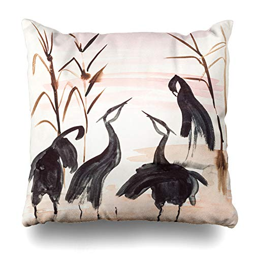 Training Throw Pillow (Ahawoso Throw Pillow Cover Herk Training Drawing Suibokuga Watercolor Paints in Cranes River Lake Shore at Sunset On Ivory Home Decor Pillowcase Square Size 18