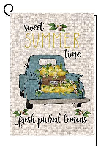 Lemon Farmhouse Small Garden Flag Vertical Double Sided 12.5 x 18 Inch Summer Truck Burlap Yard Outdoor Decor