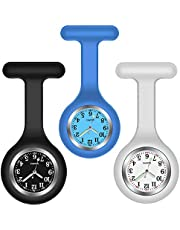H HOME-MART 3 Pack Nurse Watch Brooch with 3 Colours, Silicone with Pin/Clip, Glow in Dark, Infection Control Design, Health Care Nurse Doctor Paramedic Medical Brooch Fob Watch