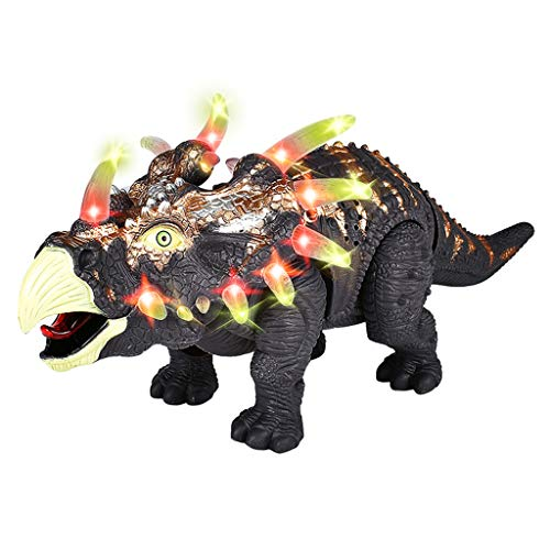HIGHMIGOU Walking Triceratops Dinosaur Toy Figure with Multicolor Lights & Loud Roar Sounds for for Boys and Girls Over 3 Years Old,Real Movement (Black) ()