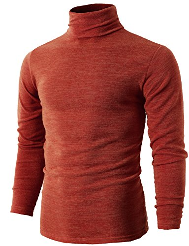 (H2H Mens Basic Knitted Long-Sleeve Ribbed Sweater With Turtleneck ORANGE US M/Asia XL (KMTTL028))