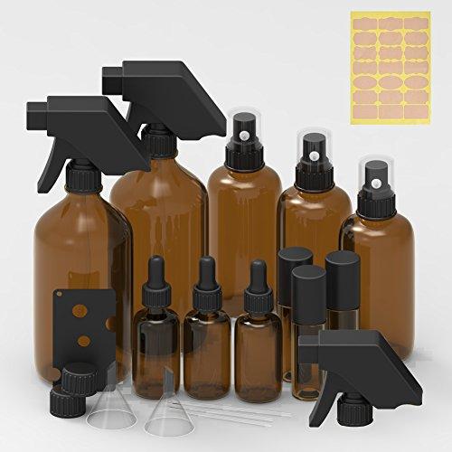 Amber Glass Bottle – 3pcs 16oz Trigger Sprayers,3pcs 3.4 oz Sprayer Bottle,3pcs 1 oz Dropper Bottle,3pcs Roller Bottle including Bottle Labels, Caps,Droppers and Funnels