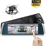 Mirror Dash Cam Backup Camera 7 inch Full Touch Screen Front and Rear Dual Channels HD Reverse Camera,1080P 170° HD Front Camera 140°Wide Angle Rearview Camera 24Hour Parking Surveillance