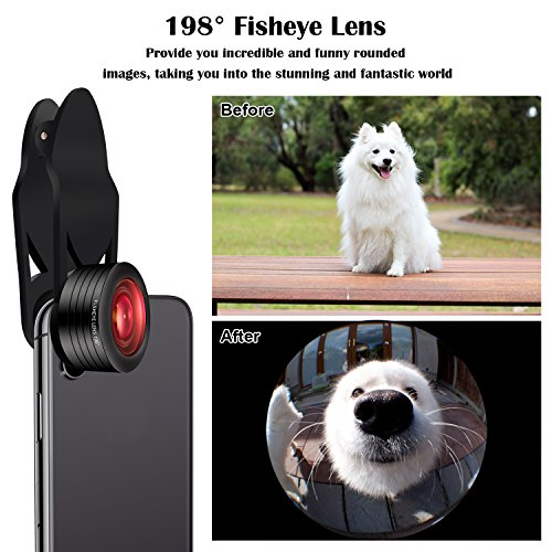 iPhone Camera Lens Kit,5 in 1 Kaiess 120° Super Wide Angle & Macro Lens + 2X Telephoto Lens + 198° Fisheye Lens + Kaleidoscope Lens for iPhone X/8/7/6/6s plus,Samsung and Most Smartphone by Kaiess (Image #3)