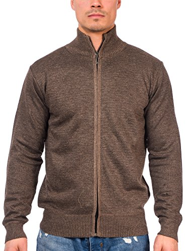 TR Fashion Men's Long Sleeve Soft Casual Full Front Zip Cardigan Sweater (Marled Brown, Small)