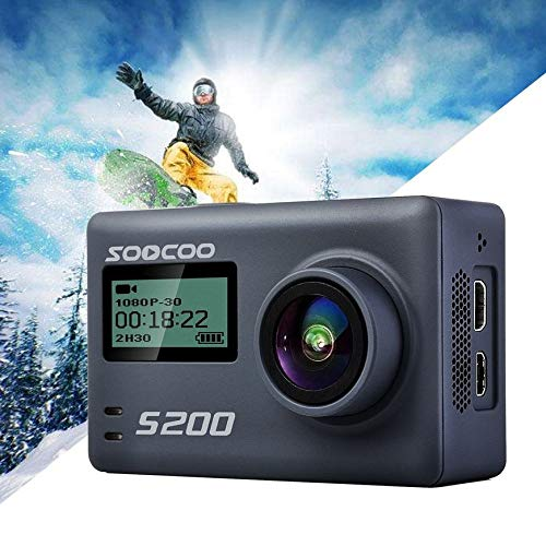 Pudincoco SOOCOO S200 Action Camera Voice Control External Mic Ultra HD 4K NTK96660 + IMX078 with WiFi GPS 2.45