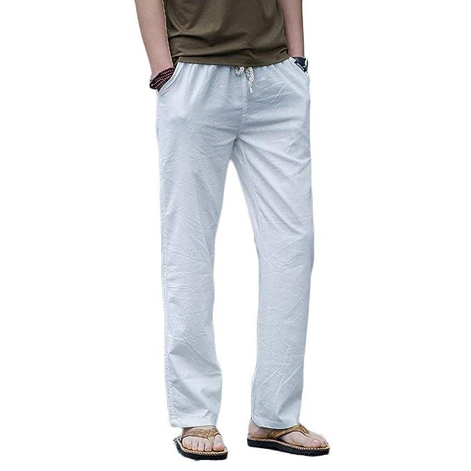 ed3dccd1301 Elodiey Pantalones De Lino Ocasionales De Los Hombres Pantalones  Respirables Playa De Cómodos del Joven Verano Pantalones Casuales De Color  Sólido Livianos ...