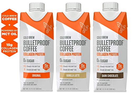 Bulletproof Cold Brew Coffee Plus Collagen, Keto Friendly, Sugar Free, with Brain Octane oil and Grass-fed Butter, (4 of each, Vanilla Latte, Dark Chocolate, and Original) (12 Pack)