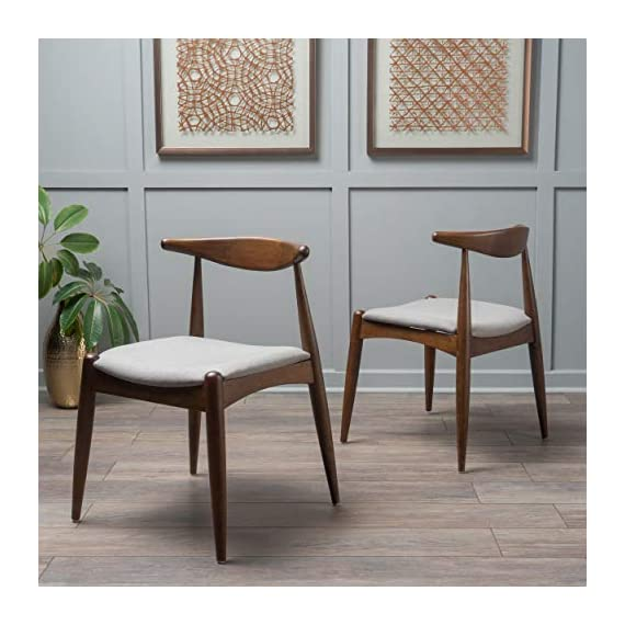 Christopher Knight Home Francie Fabric with Walnut Finish Dining Chairs, 2-Pcs Set, Dark Beige / Walnut - Includes: Two (2) Dining Chairs; Dimensions: 21.25 inches deep x 21.45 inches wide x 29.52 inches high Seat Width: 18.25 inches Seat Depth: 18.00 inches Seat Height: 17.75 inches Fabric Composition: 100% Polyester - kitchen-dining-room-furniture, kitchen-dining-room, kitchen-dining-room-chairs - 51hy9Nw8 tL. SS570  -