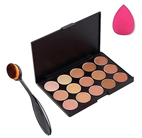 Scrox 15 Set de Paleta de Corrector + Maquillaje cosmético Profesional Cepillo de Dientes con Cepillo