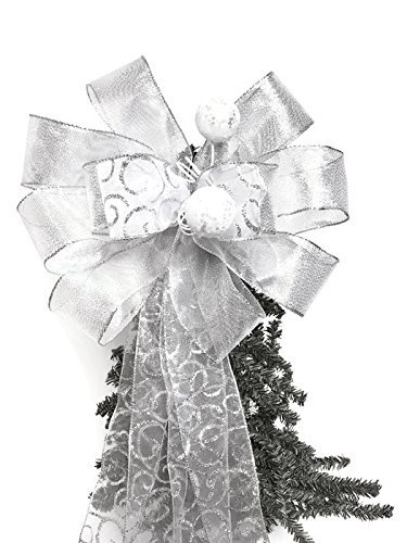 Christmas Bow Wreath Hanger - Wreath Bow, Silver Wedding Bow, Tree Topper, Large Gift Bow, Wreath Bows, Holiday Bow, Home Decor, Christmas Bows, Swag Bow,- Handmade Bow