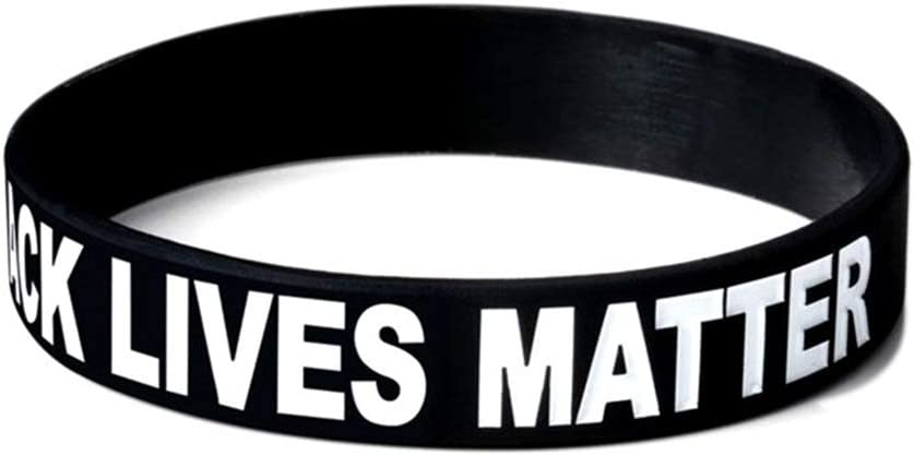 jieji Black Lives Matter Silicone Wristbands BLM Movement Bracelets Awareness Support Wristband Gifts for Men Ladies Teens