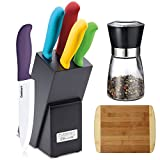 Cuisinart 6-Piece Ceramic Cutlery Knife Block Set, Multicolored (C59CE-C6P) with Deco Gear Spice Mill & Home Basics Two Tone Bamboo Cutting Board