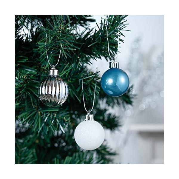 Valery Madelyn Palle di Natale 40 Pezzi 4 cm Addobbi Natalizi per Albero, Auguri Invernali Argento e Blu Ornamenti di Palla di Natale Infrangibili di Base 4 spesavip