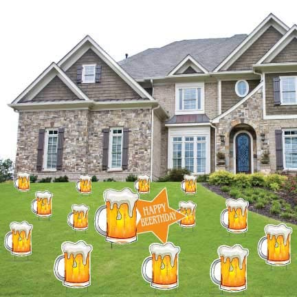 VictoryStore Beer Birthday Party Supplies: Happy Beerthday Yard Decorations with 28 Stakes
