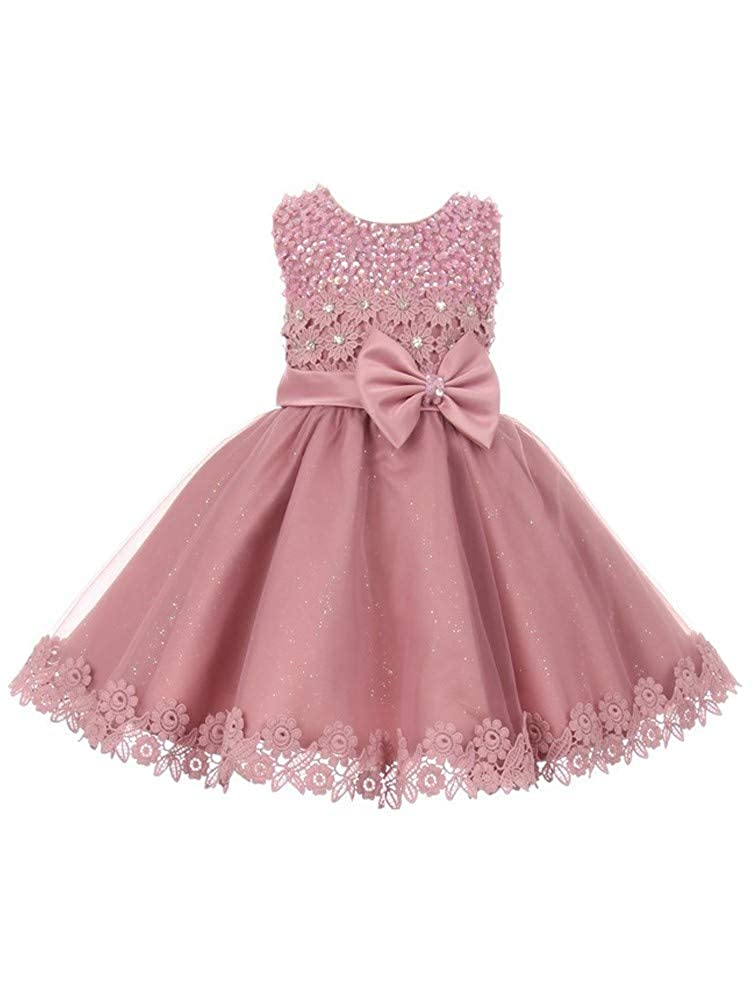 d38824619c18f Amazon.com: Cinderella Couture Baby Girls Rose Glitter Tulle Sequin Lace  Easter Flower Girl Dress 6-24M: Clothing