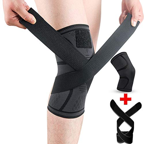 SKDK Knee Brace for Knee Pain Knee Support Compression Sleeves with Removable Bands , ACL, for Gym, Working Out, Running, Injury Recovery, Basketball and More Sports