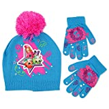Moose Big Girls Shopkins Acrylic Knit Winter Beanie Hat with Knit Pom and Matching Glove Set, Blue, One Size