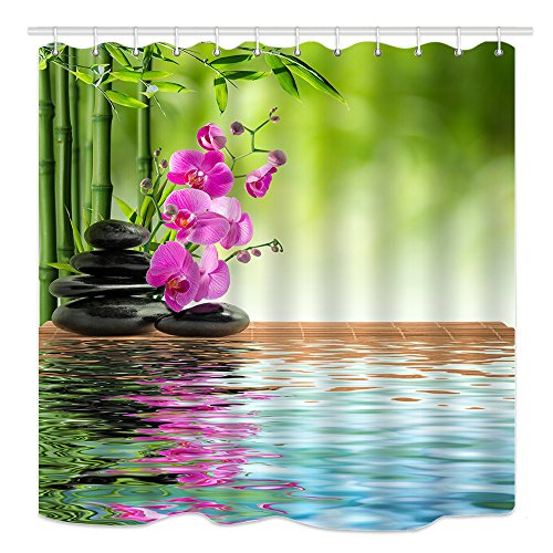 Stone Inverted Pendant (DYNH Spa Shower Curtain, Pink Orchid Black Stone and Bamboo Inverted Reflection in Water Leisure Theme, Mildew Resistant Fabric Bathroom Decor, Bath Curtains Accessories, with Hooks, 69X70 Inches)